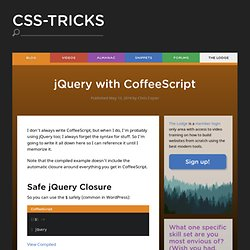 jQuery with CoffeeScript