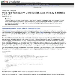 Web App with jQuery, CoffeeScript, Ajax, Web.py & Heroku