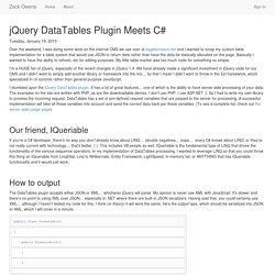 jQuery DataTables Plugin Meets C# - Zack Owens