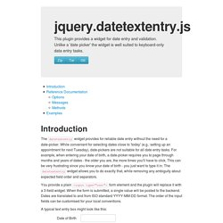 jQuery datetextentry Plugin