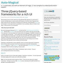 Three jQuery-based frameworks for a rich UI