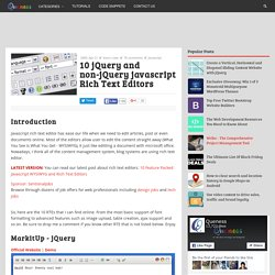 10 jQuery and non-jQuery javascript Rich Text Editors
