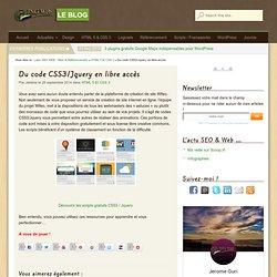 Du code CSS3/Jquery en libre accès