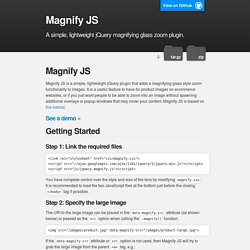 jQuery Magnify Plugin : Magnifying Glass Zoom