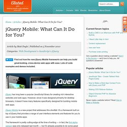 jQuery Mobile: What Can It Do for You?