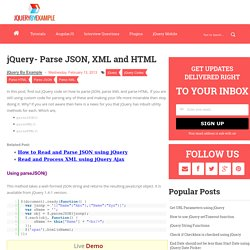jQuery- Parse JSON, XML and HTML