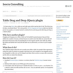Table Drag and Drop JQuery plugin
