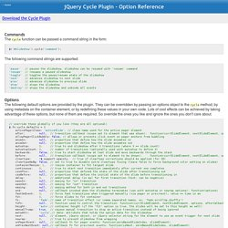 JQuery Cycle Plugin - Option Reference