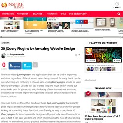 30 jQuery Plugins for Amazing Website Design