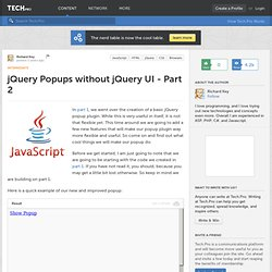 jQuery Popups without jQuery UI - Part 2