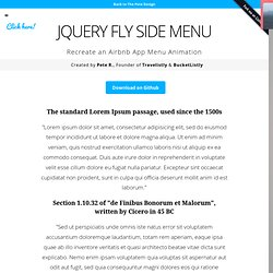 jQuery Fly Side Menu by Pete R.