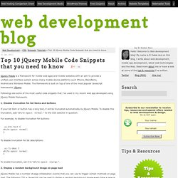Top 10 jQuery Mobile Code Snippets that you need to know