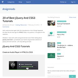 20 of Best jQuery And CSS3 Tutorials