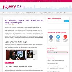 40+ Best jQuery Player & HTML5 Player tutorials and jQuery Examples