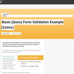 Basic jQuery Form Validation Example (2mins)