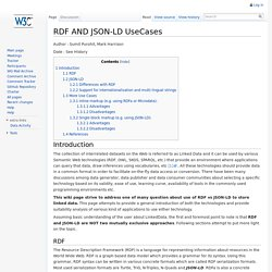 RDF AND JSON-LD UseCases - Data on the Web Best Practices