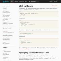 JSX in Depth
