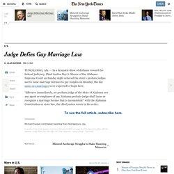Judge Defies Gay Marriage Law