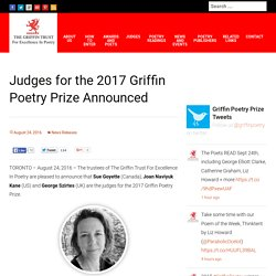 Judges for the 2017 Griffin Poetry Prize Announced