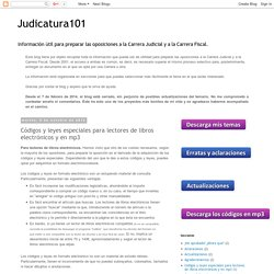 Judicatura101: Códigos y leyes especiales para lectores de libros electrónicos y en mp3
