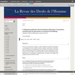 L'admission judiciaire d'une formation théorique à l'assistance sexuelle pour les personnes en situation de handicap