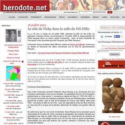16 juillet 2012 - Le rôle de Vichy dans la rafle du Vél d'Hiv
