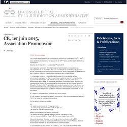 CE, 1er juin 2015, Association Promouvoir