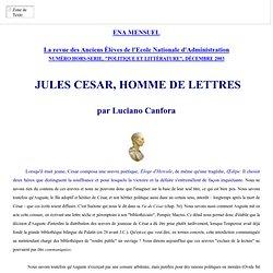 JULES CESAR HOMME DE LETTRES, PAR LUCIANO CANFORA