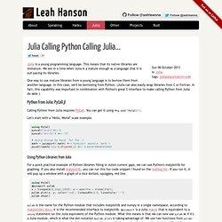 Julia Calling Python Calling Julia...