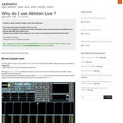 Pourquoi dois-je utiliser Ableton Live? «Julien Bayle