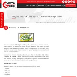 Top July 2020 GK Quiz by SSC Online Coaching Classes