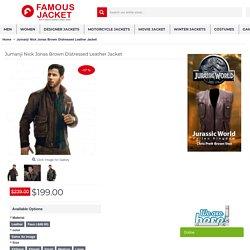 Jumanji Nick Jonas Brown Distressed Leather Jacket