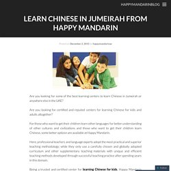 Learn Chinese in Jumeirah from Happy Mandarin