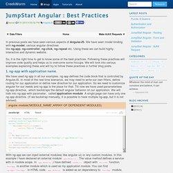 JumpStart Angular : Best Practices