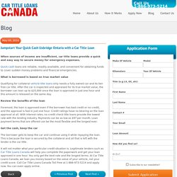 Jumpstart Your Quick Cash Uxbridge Ontario with a Car Title Loan