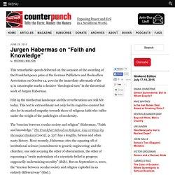 "Jurgen Habermas on ""Faith and Knowledge"""