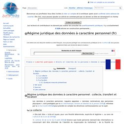 Régime juridique des données à caractère personnel