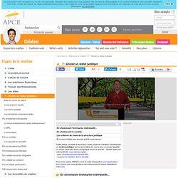 Etape 4 - Choisir un statut juridique - APCE, agence pour la création d'entreprises, création d'entreprise, créer sa société,l'auto-entrepreneur, autoentrepreneur, auto-entrepreneur, auto entrepreneur, lauto...