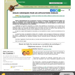REGLES JURIDIQUES POUR LES APPLICATIONS MOBILES