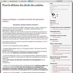 Sources juridiques : connaître les droits des personnes autistes. - autisme