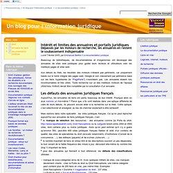 Intérêt et limites des annuaires et portails juridiques