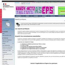 Aspects juridiques S'informer sur le numérique en EPS - Education Physique et Sportive - Nancy-Metz