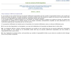 Juridoc - Codes et Recueils - CO1/détail Article L. 232-21