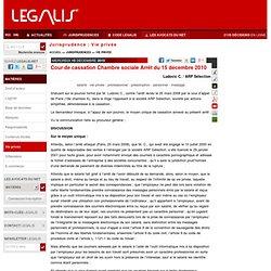 Cour de cassation Chambre sociale Arrêt du 15 décembre 2010