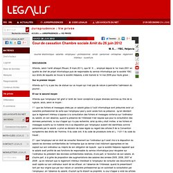Fr employers access to employee 39 s email pearltrees - Jurisprudence cour de cassation chambre sociale ...