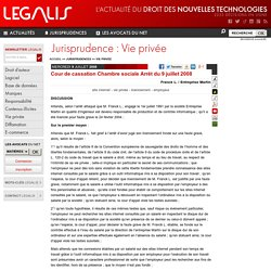 Heecko pearltrees - Jurisprudence cour de cassation chambre sociale ...
