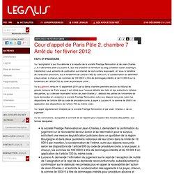 Cour d'appel de Paris Pôle 2, chambre 7 Arrêt du 1er février 2012
