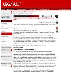 Tribunal correctionnel de Nanterre Jugement du 10-11-2011