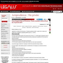 Cour d'appel d'Aix en Provence, 17eme chambre, arrêt au fond du 13 janvier 2015