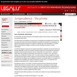 Cour d'appel d'Aix en Provence 18ème chambre Arrêt du 20 novembre 2007